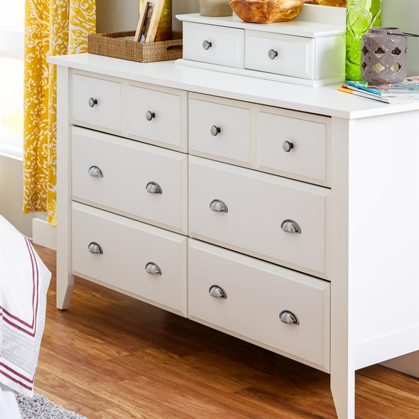 White 6-Drawer Dresser Traditional Design - Made in USA