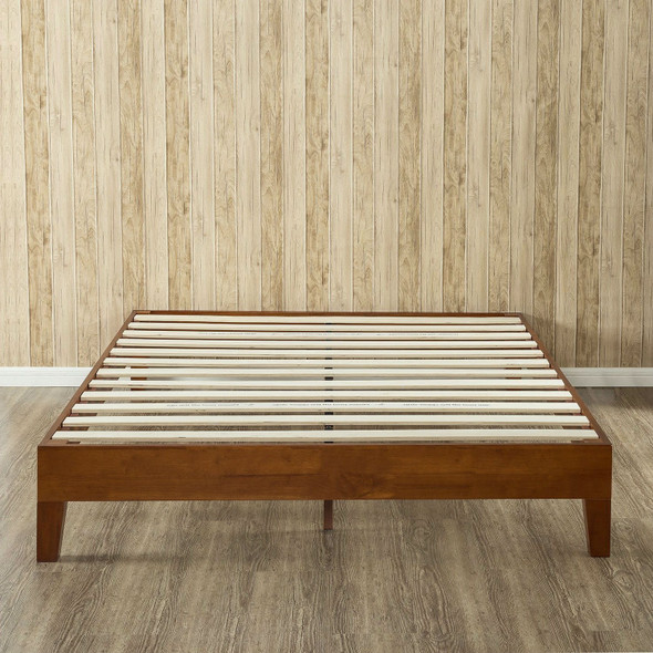 King size Modern Low Profile Solid Wood Platform Bed Frame in Cherry Finish