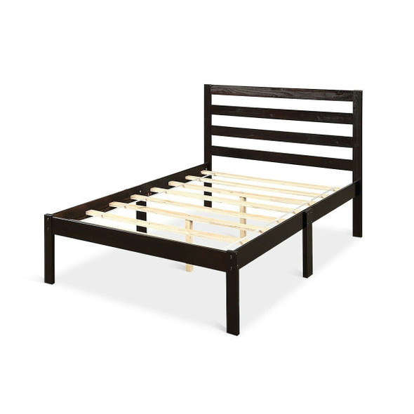 Twin size Wood Platform Bed Frame with Headboard in Espresso