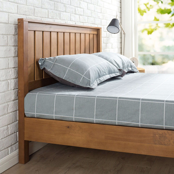 Twin Solid Wood Platform Bed Frame with Headboard in Medium Brown Finish