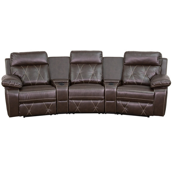 Brown Leather Theater - 3 Seat