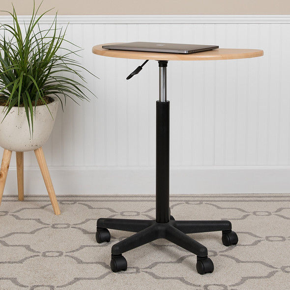 Maple Sit To Stand Mobile Desk