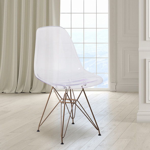 Ghost Chair With Gold Base