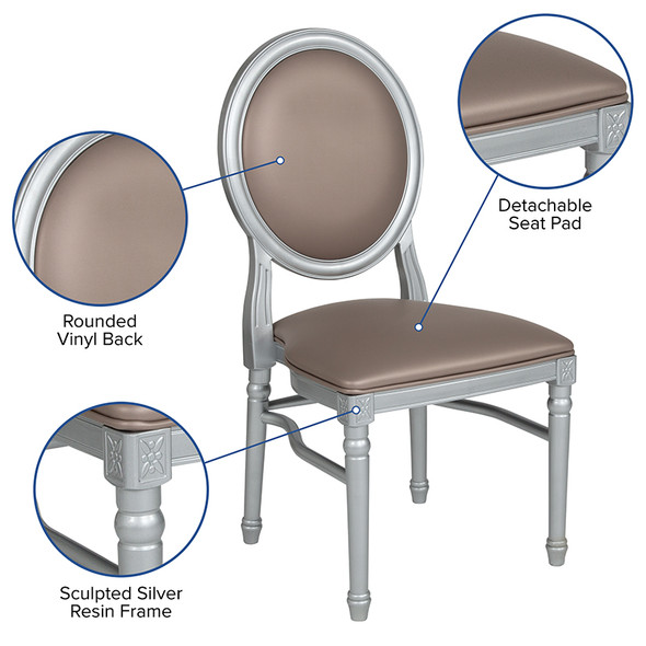 Taupe Round Back Dining Chair