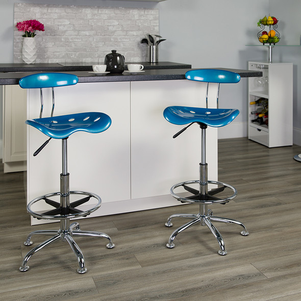 Bright Blue Tractor Stool