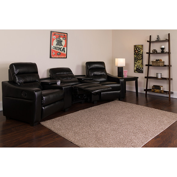 Black Leather Theater - 3 Seat