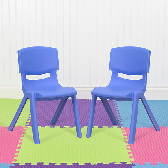 2pk Blue Plastic Stack Chair