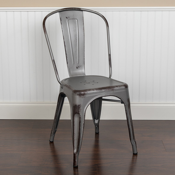 Distressed Silver Metal Chair