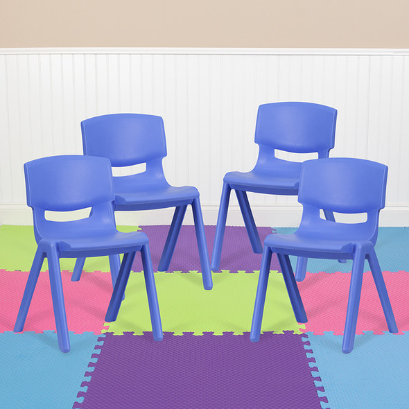4pk Blue Plastic Stack Chair