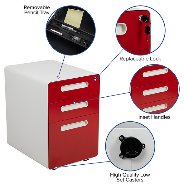 Drawer File Cabinet-white/red