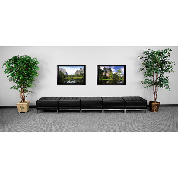 Black Leather 5-seat Bench