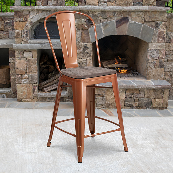 """24"""" Copper Metal Counter Stool"""