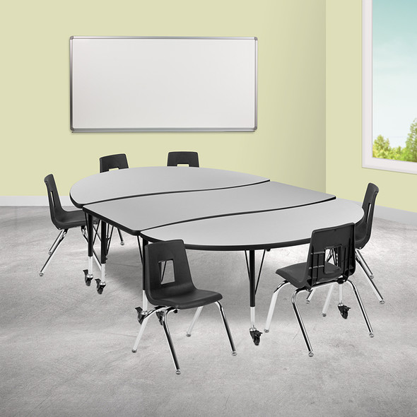 """86"""" Oval Wave Grey Table Set"""