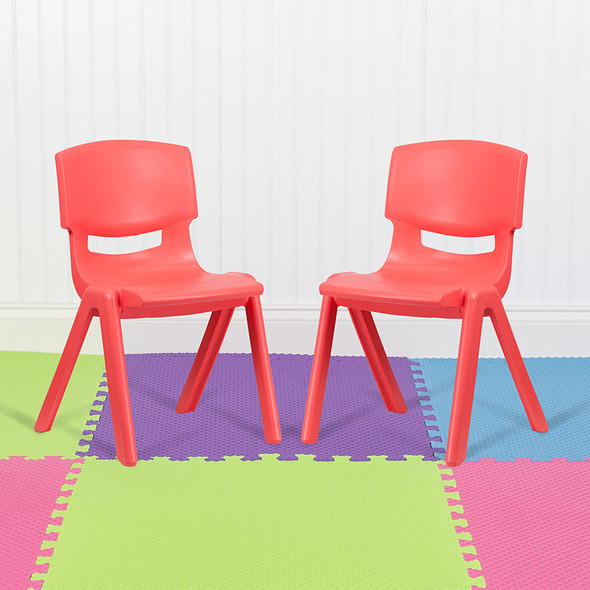 2pk Red Plastic Stack Chair