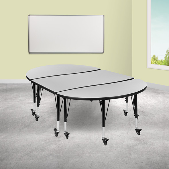 """3pc 76"""" Oval Grey Table Set"""