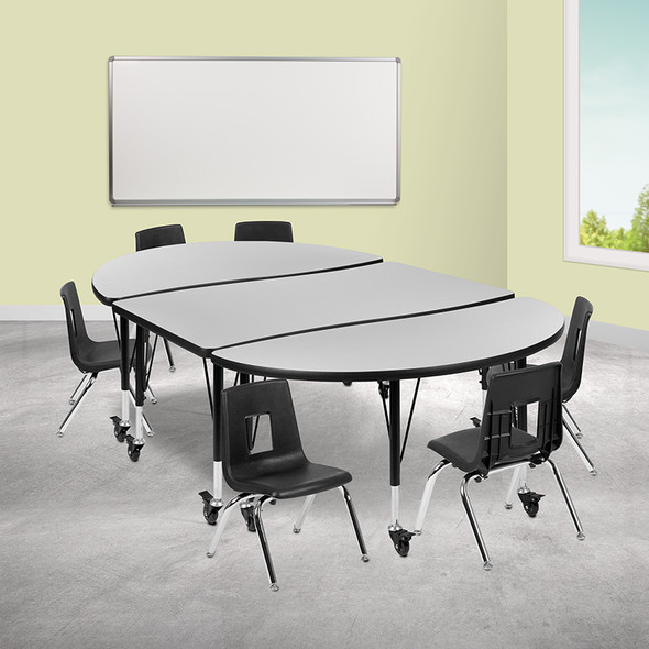 """76"""" Oval Wave Grey Table Set - FLXU-GRP-14CH-A3048CON-48-GY-T-P-CAS-GG"""