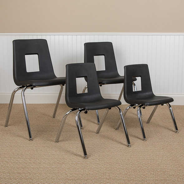 """Black Student Stack Chair 16"""""""
