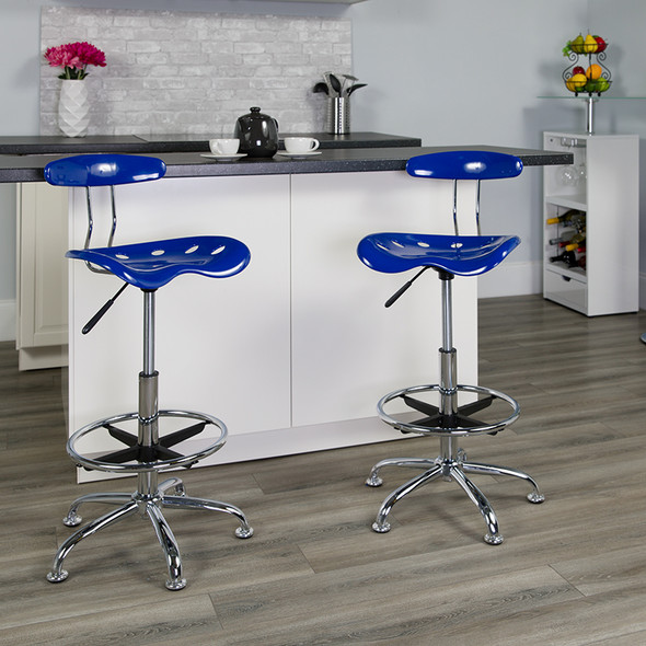 Nautical Blue Tractor Stool