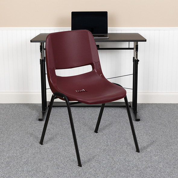 Burgundy Plastic Stack Chair - FLRUT-EO1-BY-GG