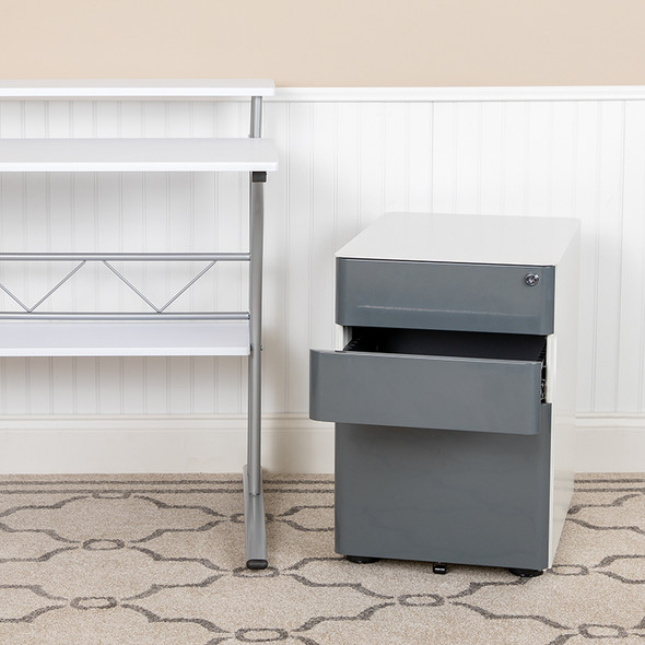 Filing Cabinet-white/charcoal