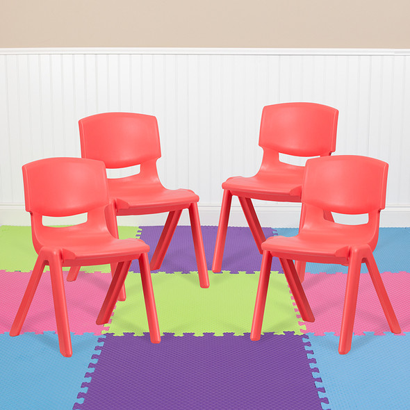 4pk Red Plastic Stack Chair