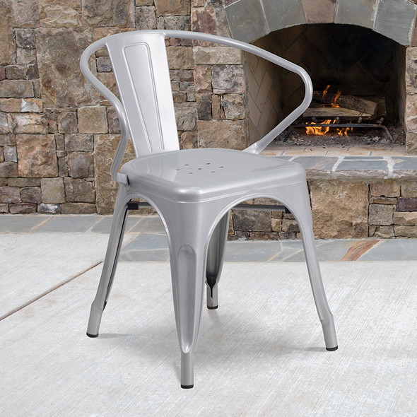 Silver Metal Chair With Arms - FLCH-31270-SIL-GG