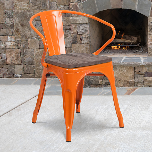 Orange Metal Chair With Arms - FLCH-31270-OR-WD-GG