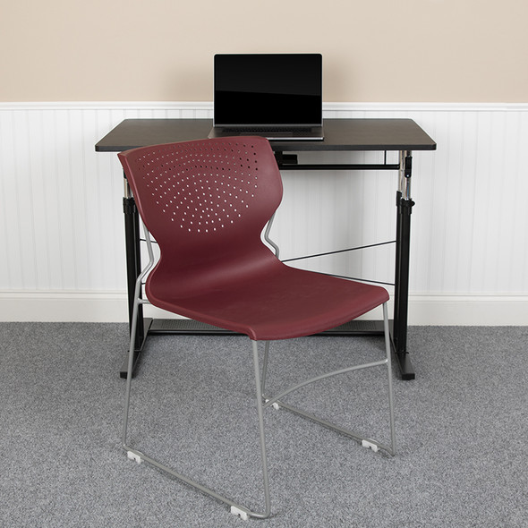 Burgundy Plastic Stack Chair - FLRUT-438-BY-GG