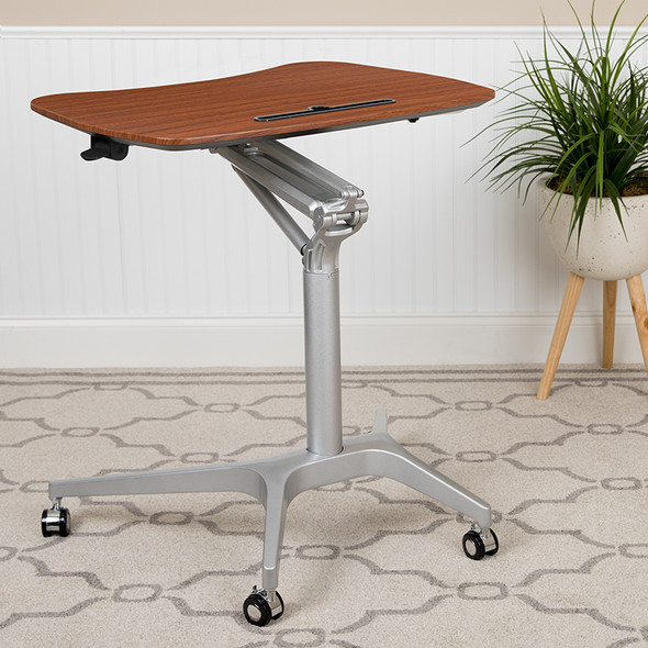 Mobile Sit-stand Mahogany Desk