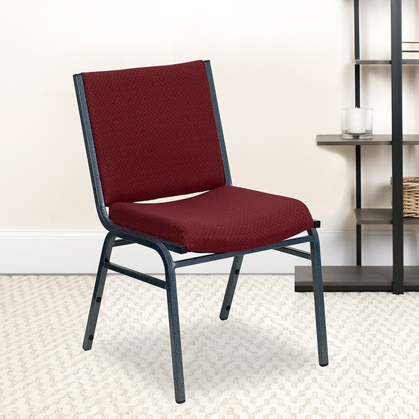 Burgundy Fabric Stack Chair - FLXU-60153-BY-GG