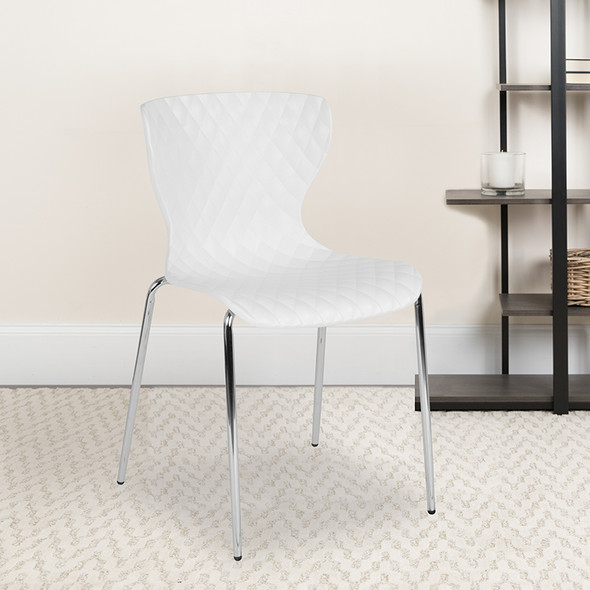 White Plastic Stack Chair - FLLF-7-07C-WH-GG