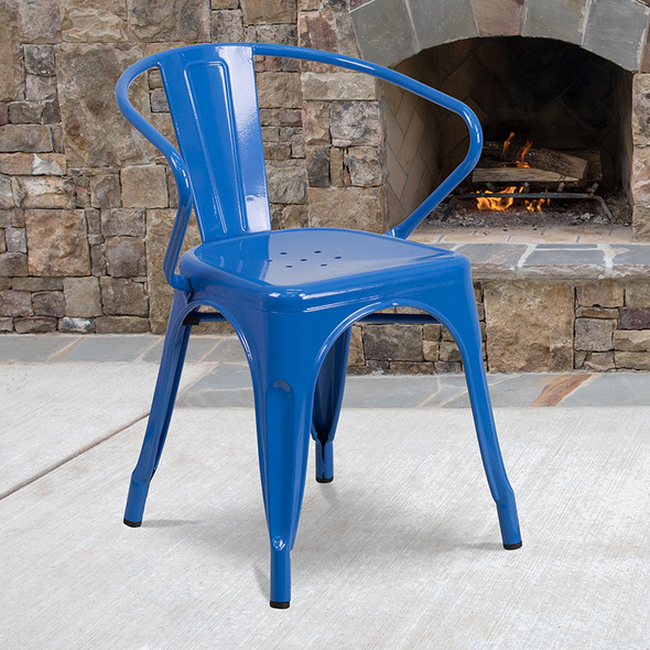 Blue Metal Chair With Arms - FLCH-31270-BL-GG