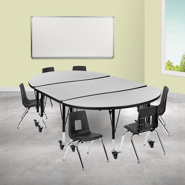 """76"""" Oval Wave Grey Table Set - FLXU-GRP-12CH-A3048CON-48-GY-T-P-CAS-GG"""