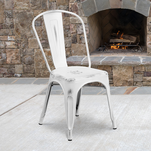 Distressed White Metal Chair