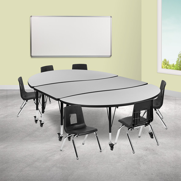 """86"""" Oval Wave Grey Table Set - FLXU-GRP-12CH-A3060CON-60-GY-T-P-CAS-GG"""