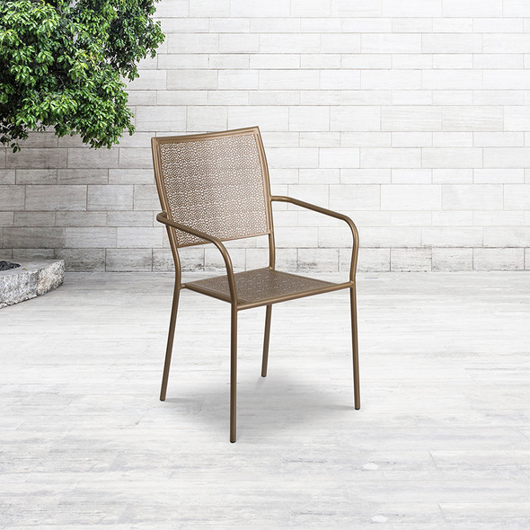 Gold Square Back Patio Chair