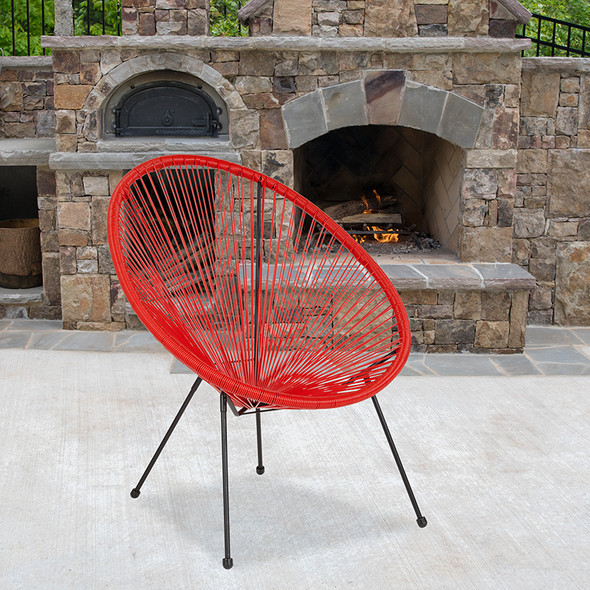 Red Bungee Oval Lounge Chair