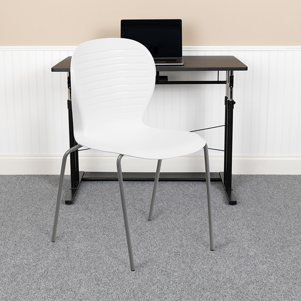 White Plastic Stack Chair - FLRUT-3-WH-GG