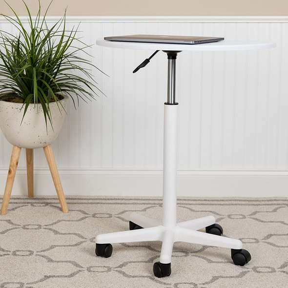 White Sit To Stand Mobile Desk
