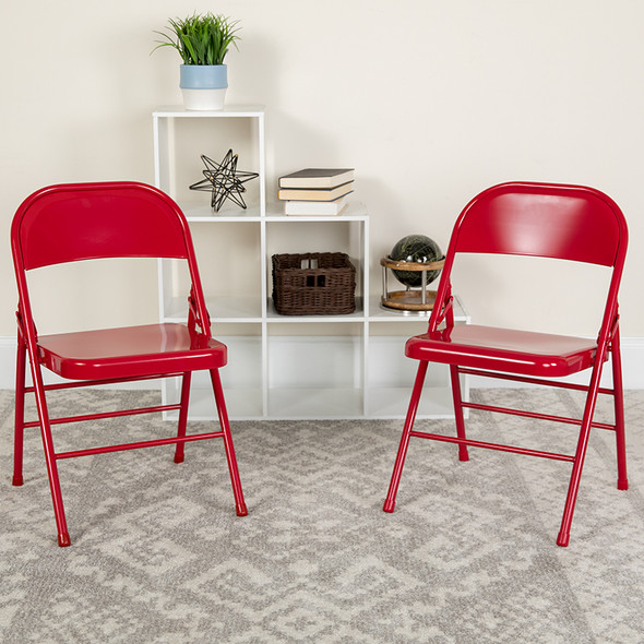 Red Metal Folding Chair - FLHF3-MC-309AS-RED-GG