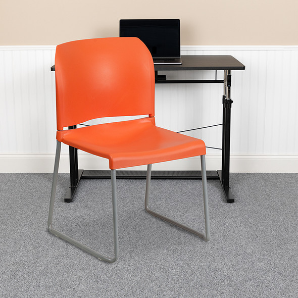 Orange Plastic Stack Chair - FLRUT-238A-OR-GG