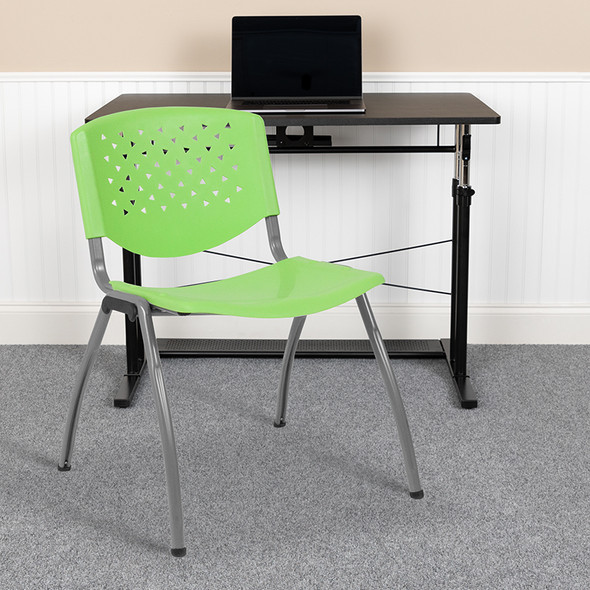 Green Plastic Stack Chair - FLRUT-F01A-GN-GG