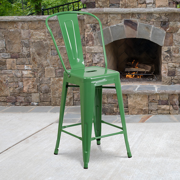 """24"""" Green Metal Outdoor Stool - FLCH-31320-24GB-GN-GG"""