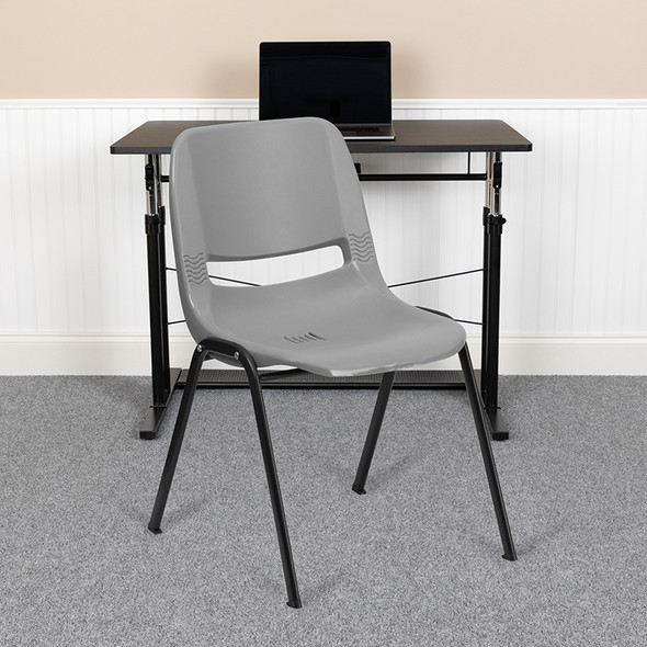 Gray Plastic Stack Chair - FLRUT-EO1-GY-GG