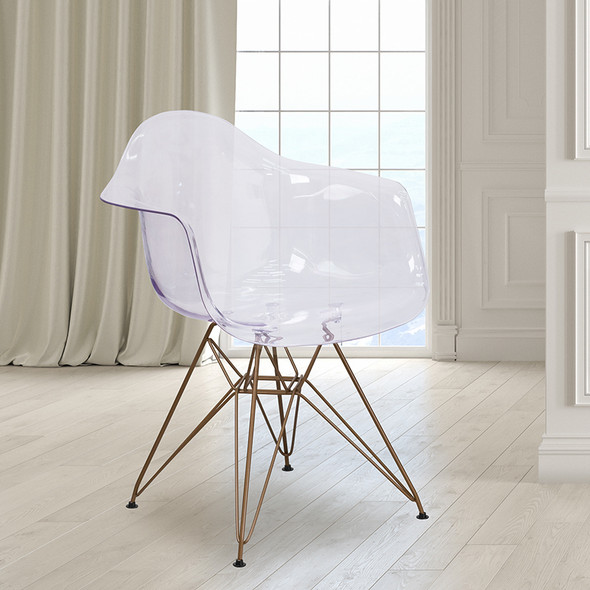 Clear Side Chair W/ Gold Base