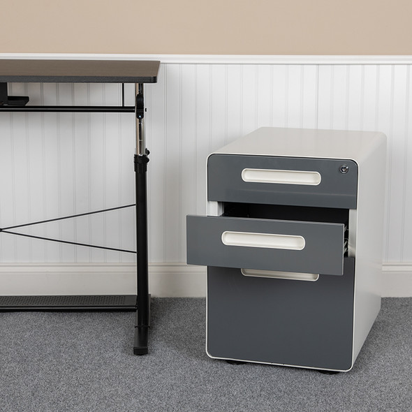 Filing Cabinet-white/charcoal - FLHZ-AP535-02-DGY-WH-GG