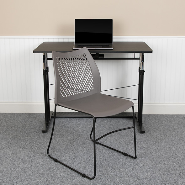 Gray Plastic Stack Chair - FLRUT-498A-GY-GG