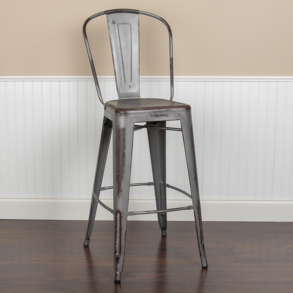 """30""""h Distressed Silver Stool"""