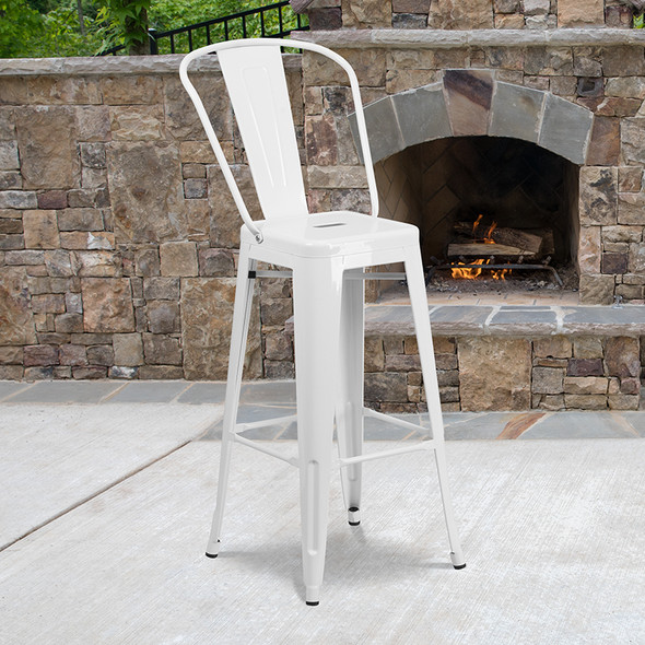 """30"""" White Metal Outdoor Stool - FLCH-31320-30GB-WH-GG"""