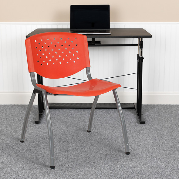 Orange Plastic Stack Chair - FLRUT-F01A-OR-GG